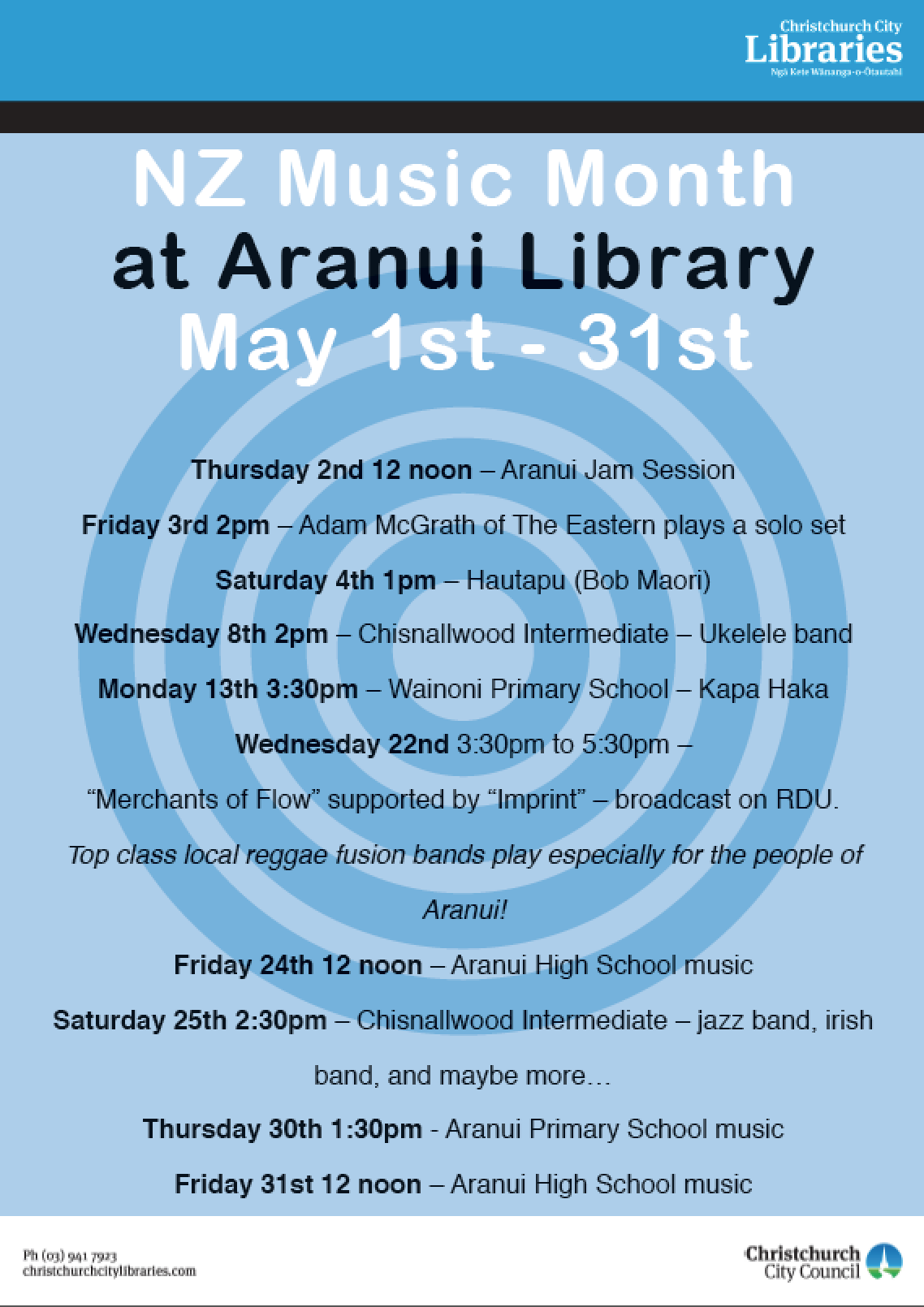 Aranui Library Music Month 2013.png